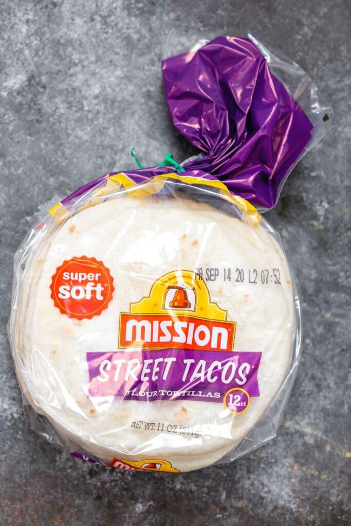 Bag of street taco flour tortillas