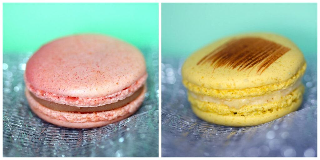 Collage showing strawberry macaron (with glitter) and bananas foster macaron from Sucré