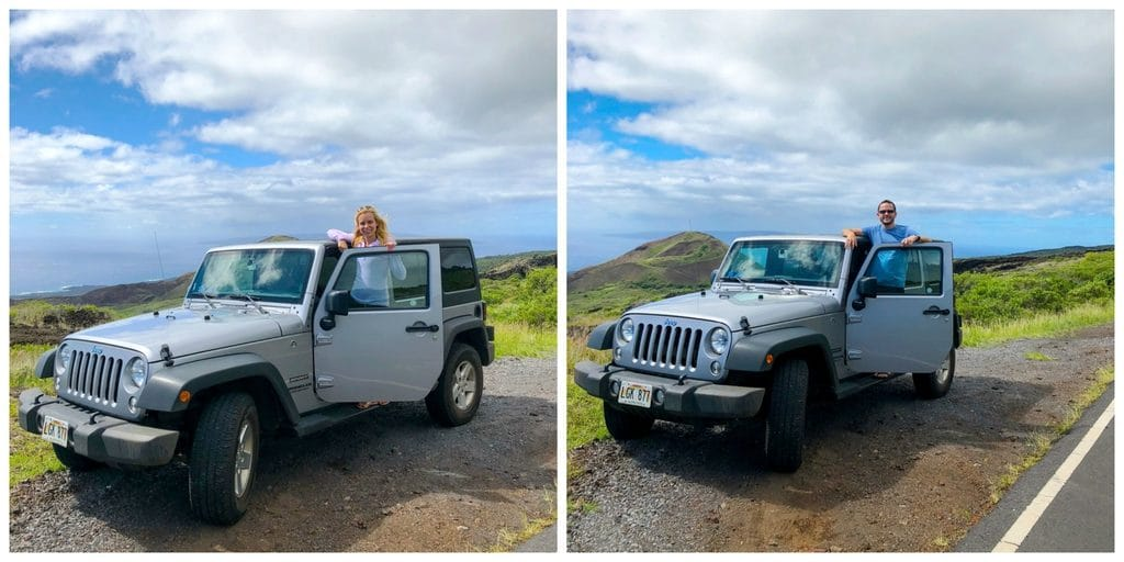 Sues and Chris standing outside their Jeep taking in the views on Kahekili Highway