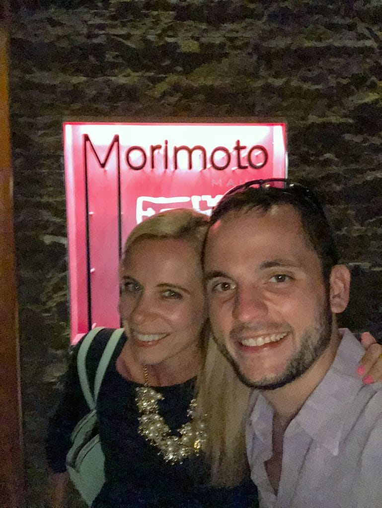 Sues and Chris outside of Morimoto Maui