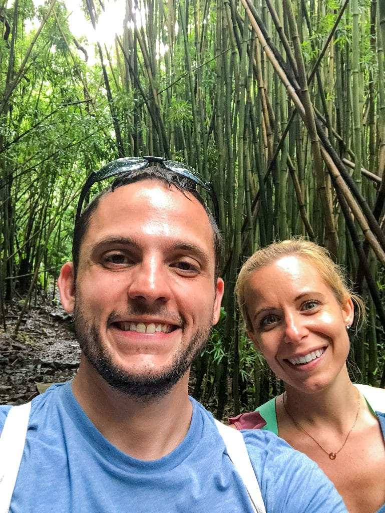 Chris and Sues walking through the bamboo forest on Pipiwai Trail