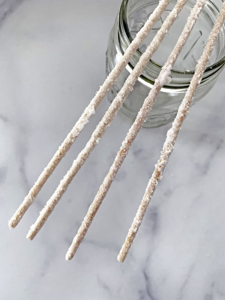 Skewers coated in sugar so rock candy crystals will stick to them