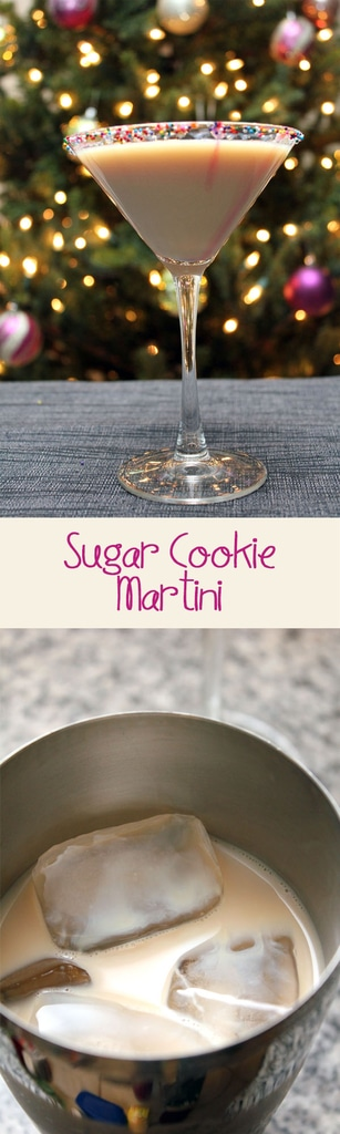 Sugar Cookie Martini -- This holiday cocktail is seriously festive and sweet. Serve these Sugar Cookie Martinis at your next holiday party or at home by the Christmas tree| wearenotmartha.com
