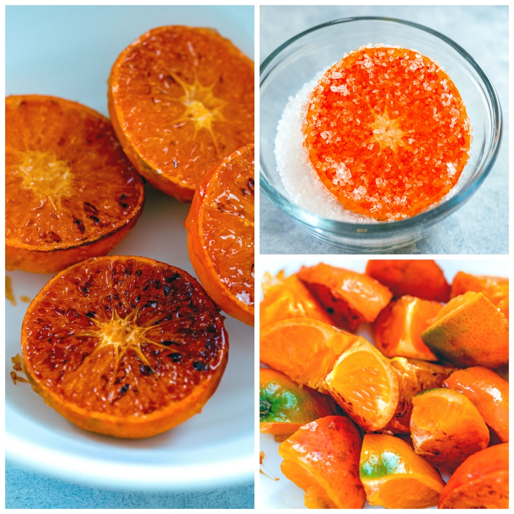 Collage showing process for caramelizing the tangerines, including in image of tangerines coated in sugar, caramelized tangerines in bowl, and caramelized tangerines sliced