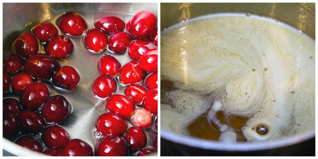 One photo of cranberries sitting in sugar water and one photo of eggnog syrup in saucepan