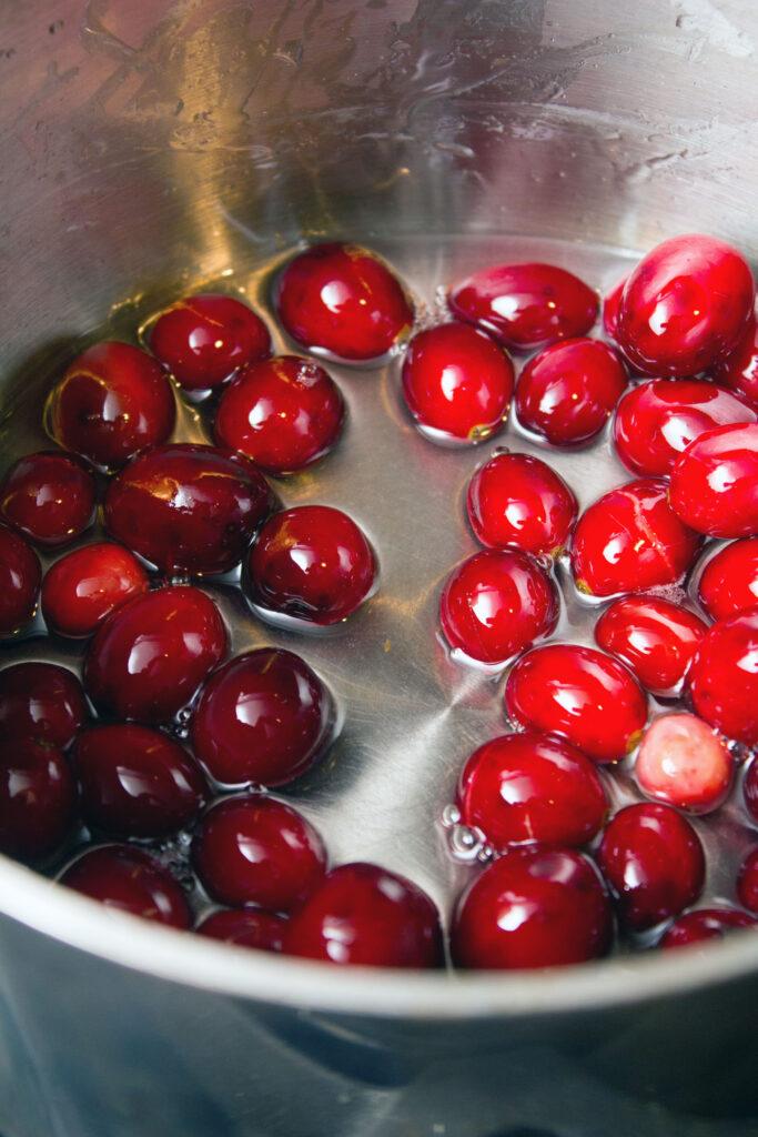 Cranberries in sugar water
