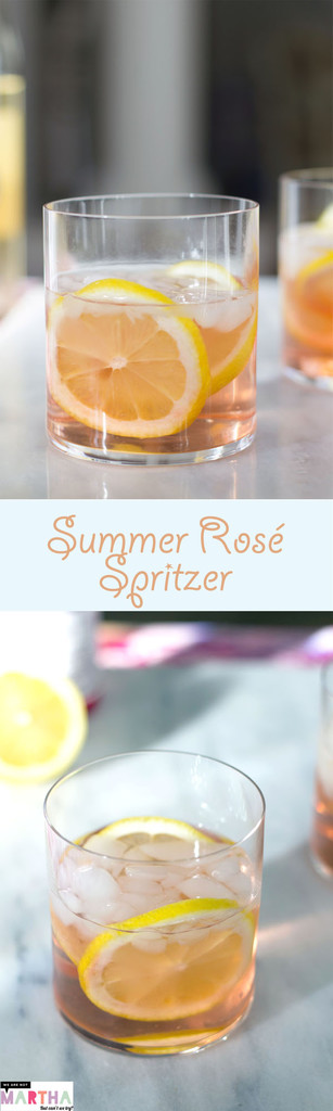 Summer Rosé Spritzer -- A summer cocktail made with fresh lemons and elderflower liqueur | wearenotmartha.com #rose #cocktails #summer #spritzer