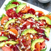 Sunshine Winter Citrus Salad -- Winter weather got you down? Assemble this easy Winter Citrus Salad with blood oranges, cara cara oranges, grapefruit, and more and bring a little sunshine back into your life! | wearenotmartha.com