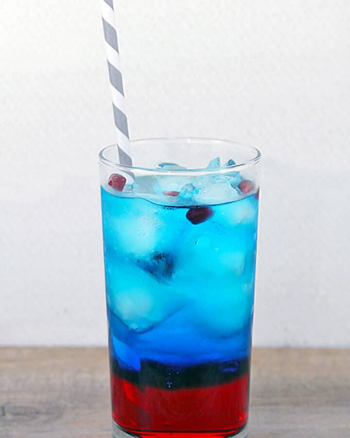 Head-on view of a Red and blue Super Bowl Sipper, a Super Bowl cocktail perfect for the big game