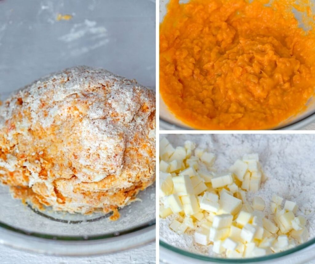 Collage showing mashed sweet potato in bowl, flour and butter in bowl, and orange biscuit dough in bowl