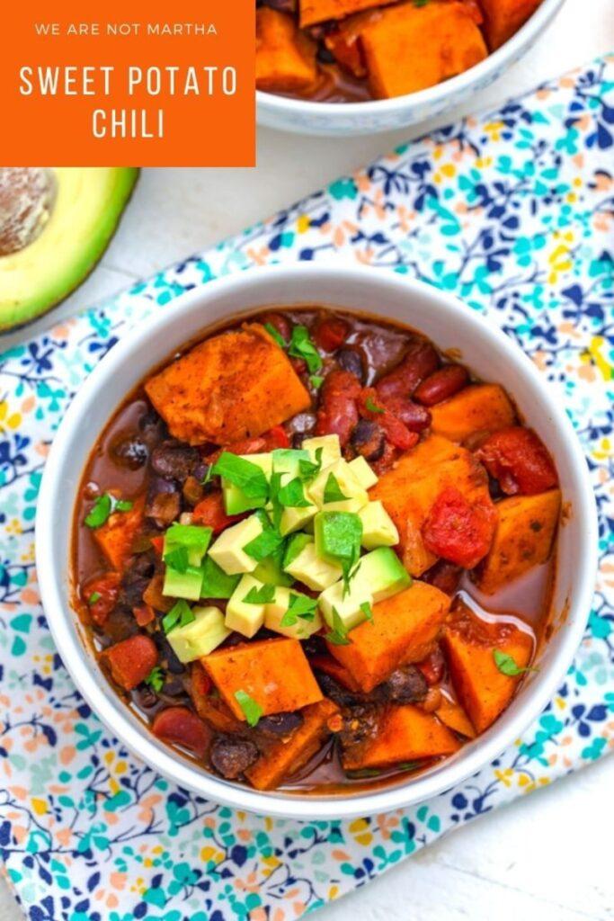 This Sweet Potato Chili is the best kind of healthy comfort food! | wearenotmartha.com #chilirecipes #sweetpotatoes #vegetarian #vegetarianchili #healthyrecipes