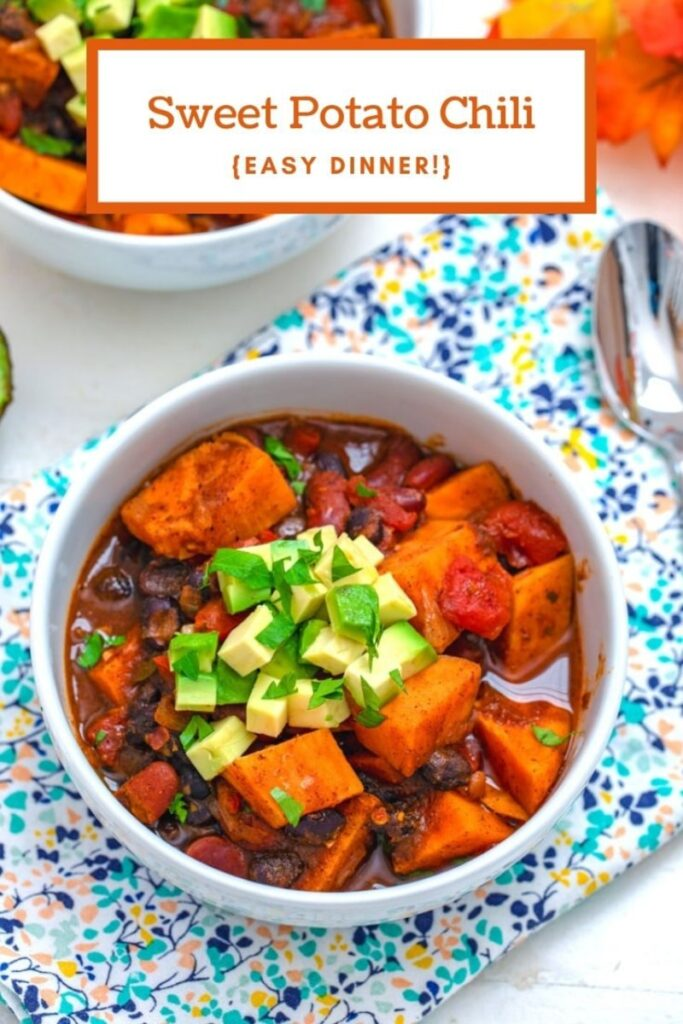 Looking for an easy dinner that's healthy, but tastes like comfort food? This Sweet Potato Chili is a yummy fall and winter dinner recipe | wearenotmartha.com #sweetpotatoes, #chili #chilirecipes #comfortfood #healthydinners #healthycomfortfood