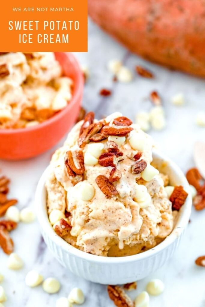This sweet potato ice cream will convince you that sweet potatoes and ice cream are a fall dessert match made in heaven! | wearenotmartha.com #sweetpotatoes #fallicecream #icecreamrecipes #falldesserts #sweetpotato