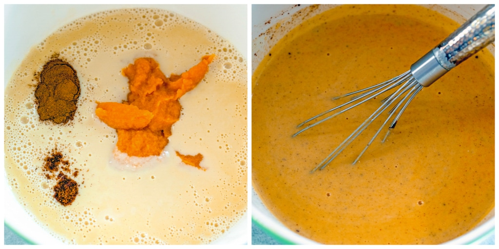 Collage showing sweet potato ice cream base with sweet potato puree and spices dropped in and mixture all whisked together