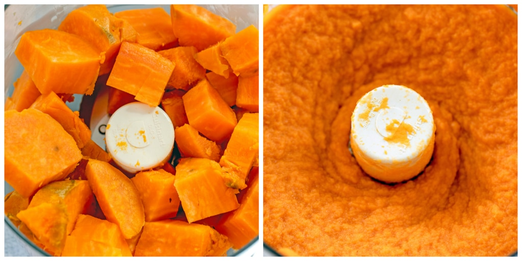 Collage showing diced sweet potatoes in food processor and sweet potato all pureed in food processor