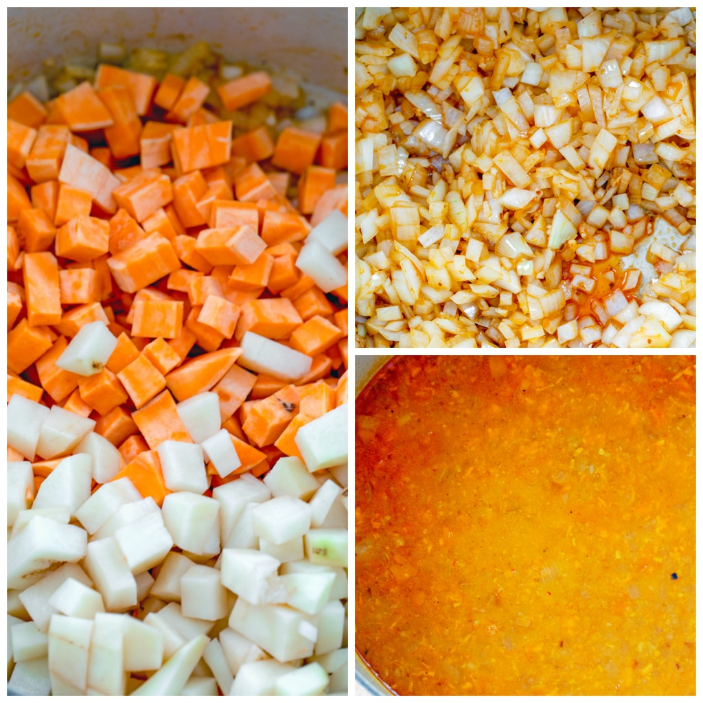 Collage showing process for making sweet potato and sausage soup, including sweet potatoes and white potatoes chopped in pot, onions and garlic in pot, and soup puree cooking in pot