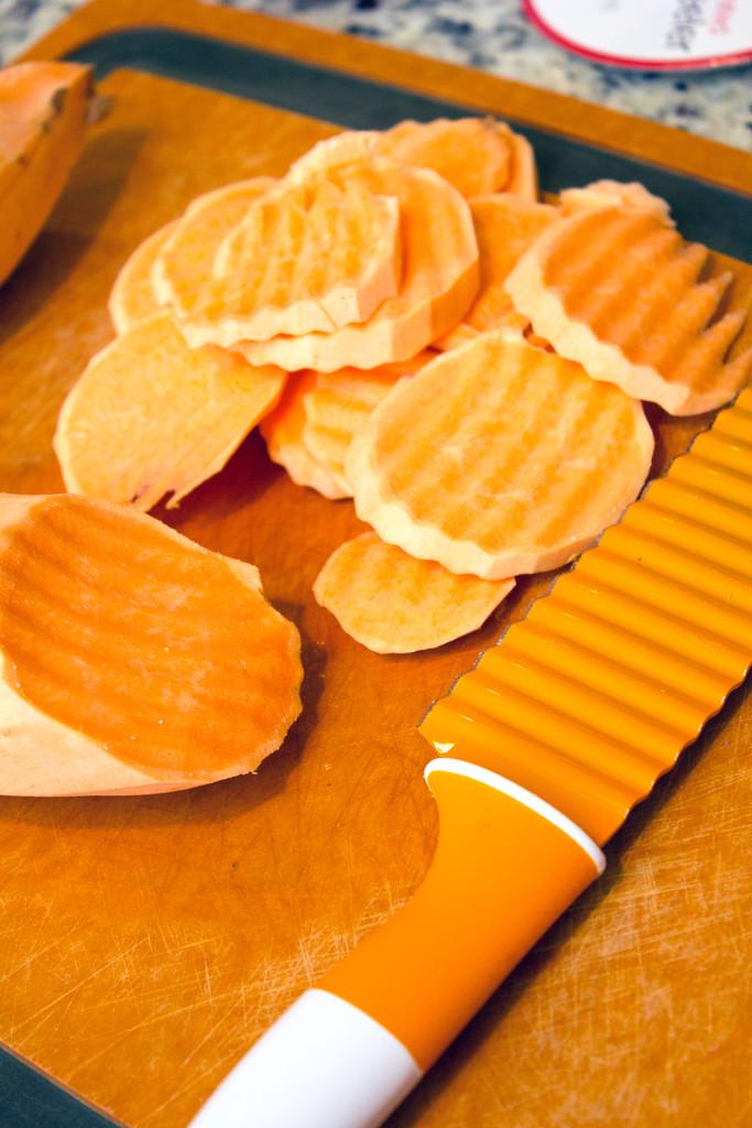 Sweet Potatoes Wavy Knife Cut