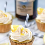 Sweet Tea Vodka Cupcakes -- These lemony cupcakes are lightly brushed with sweet tea vodka and topped with plenty of sweet tea vodka frosting for the ultimate summer treat | wearenotmartha.com