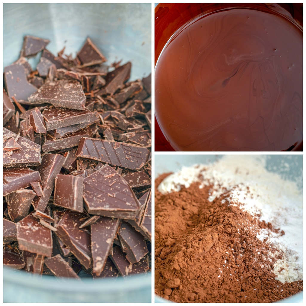Collage showing process for making Tartine's chocolate cookies, including chopped chocolate in a stainless steel bowl, chocolate melted in bowl, and another bowl with flour and cocoa powder in it
