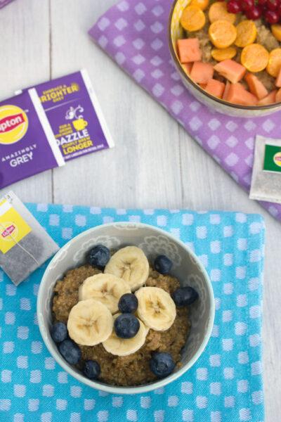 Tea Steel Cut Oats -- Oatmeal made with your tea of choice and topped with fruit | wearenotmartha.com