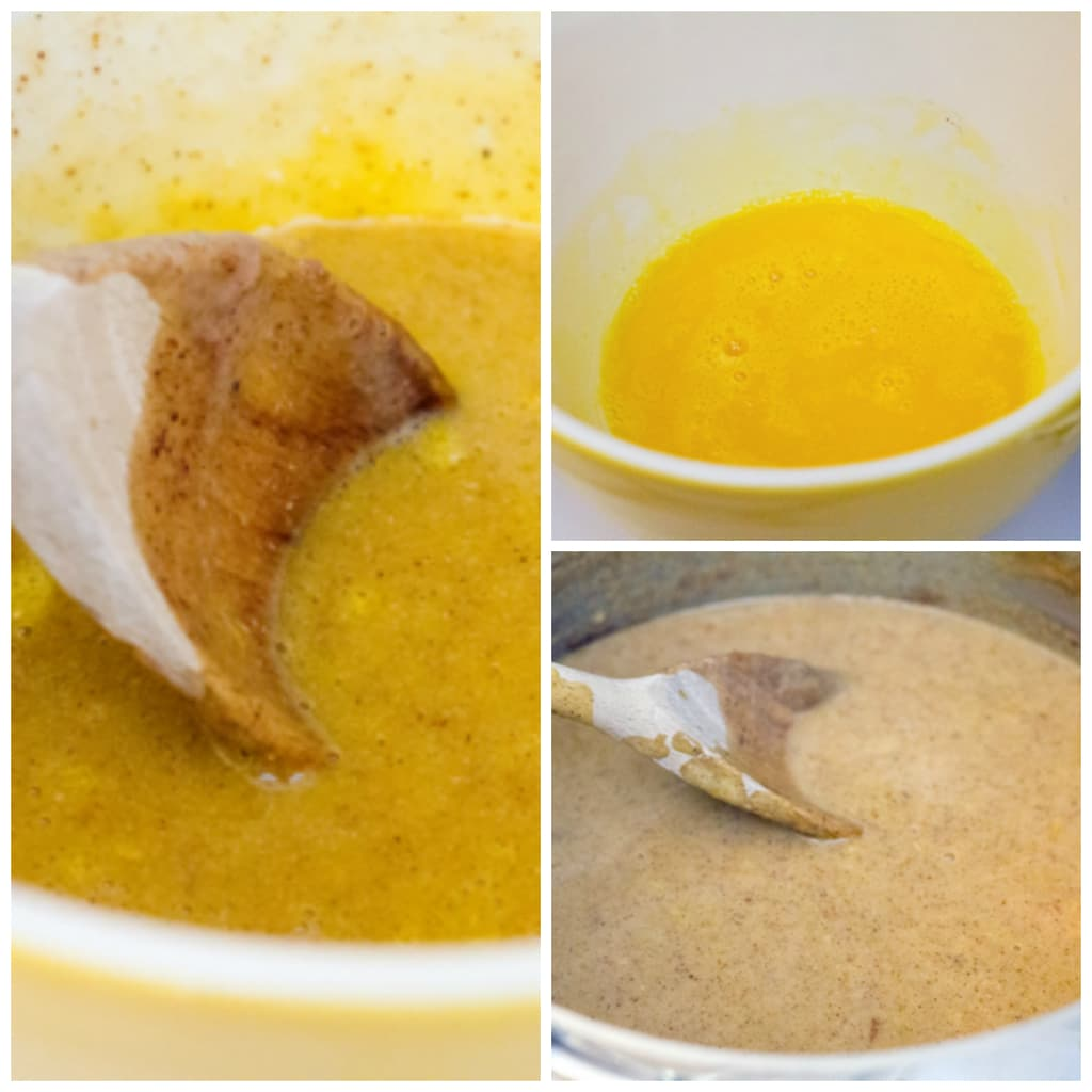 Collage showing process for tempering eggs when making gingerbread ice cream