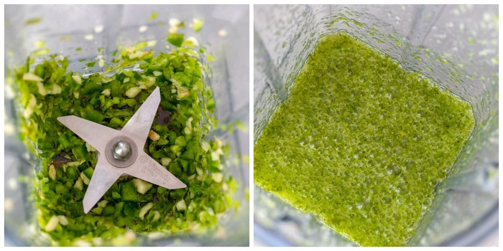 Collage with one photo showing jalapeño, garlic, and mint in blender pureed and a second photo showing tequila, lime juice, and orange juice blended in