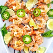 Tequila Jalapeño Shrimp -- Looking for an easy summer appetizer packed with flavor? This grilled tequila shrimp is quick-to-make and a light appetizer your guests will love | wearenotmartha.com