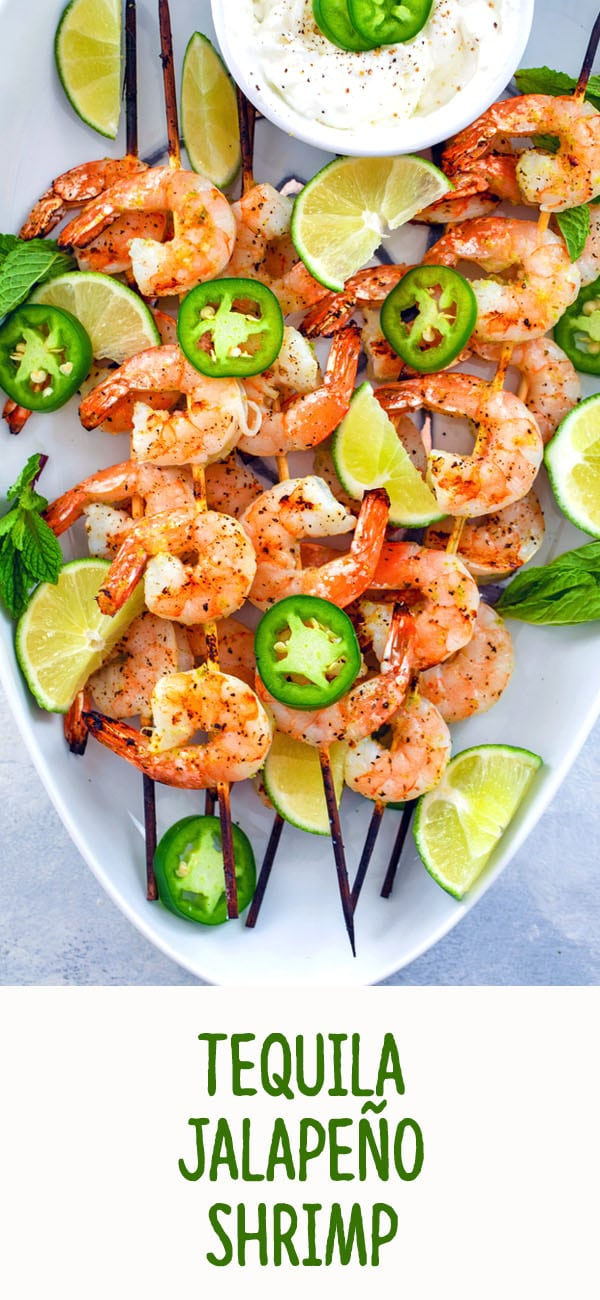 Tequila Jalapeño Shrimp -- Looking for an easy summer appetizer packed with flavor? This grilled tequila shrimp is quick-to-make and a light appetizer your guests will love | wearenotmartha.com #shrimp #tequila #jalapeno #appetizer #grilling #summer