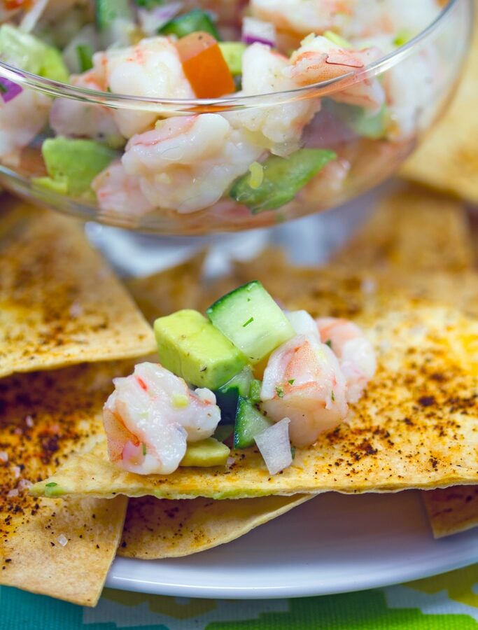 Tequila Shrimp Ceviche -- This Tequila Shrimp Ceviche served with chile dusted tortilla chips is the perfect easy-to-make party appetizer! | wearenotmartha.com