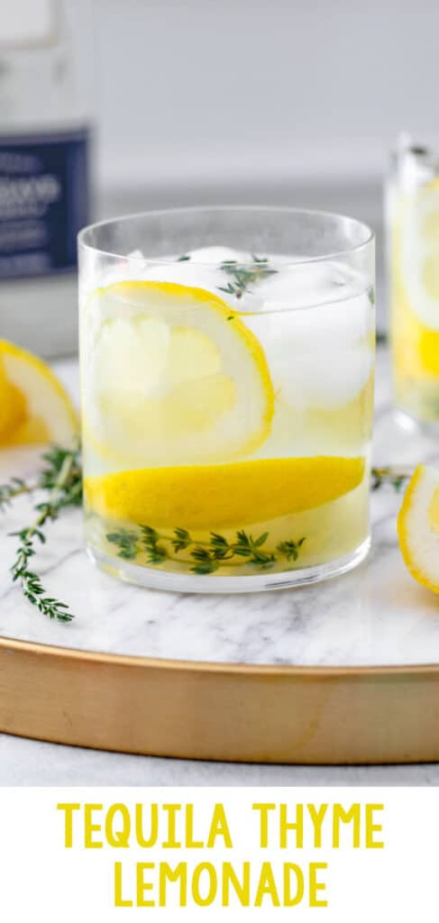 Tequila Thyme Lemonade -- This Tequila Thyme Lemonade is a super simple summer cocktail made with homemade lemonade and fresh thyme. It's light and refreshing and perfect for enjoying in the sunshine! | wearenotmartha.com #tequila #summercocktails #summerdrinks #tequiladrinks #lemonade
