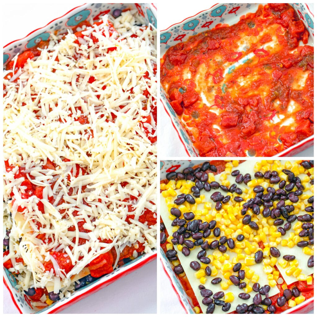 Collage showing process for making lasagna, including salsa/tomato sauce on the bottom of baking dish; corn, black beans, and lasagna noodles in baking dish; and ingredients all topped with shredded cheese.