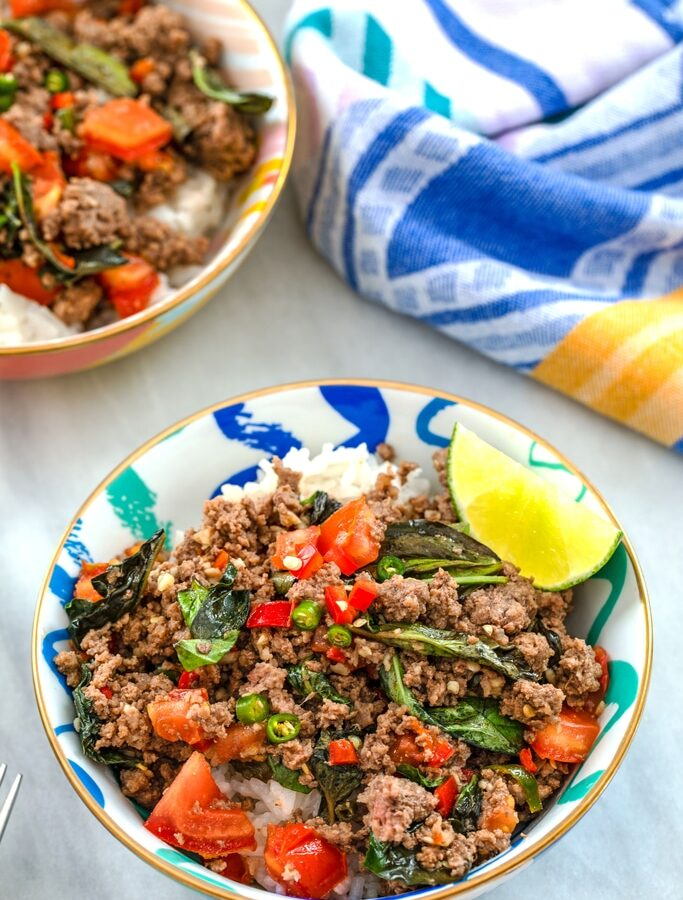 Thai Beef Basil with Coconut Rice -- This Thai Beef Basil is an incredibly flavorful, easy-to-make dinner that can be customized for all types of spicy food level preferences | wearenotmartha.com