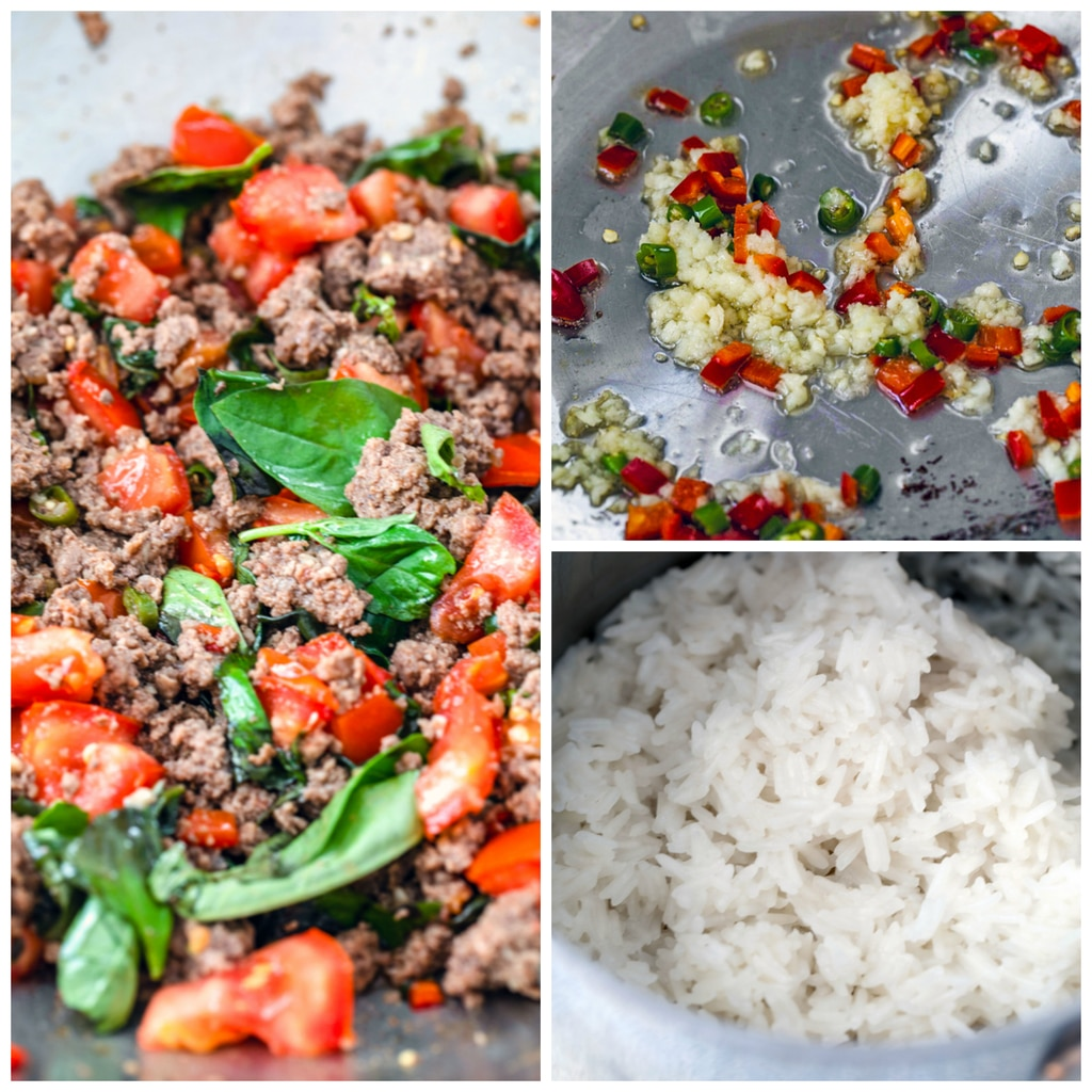 Collage showing process for making Thai beef basil, including coconut rice in saucepan, garlic and Thai chili peppers sautéing in pan, and beef, tomatoes, peppers, and basil in pan