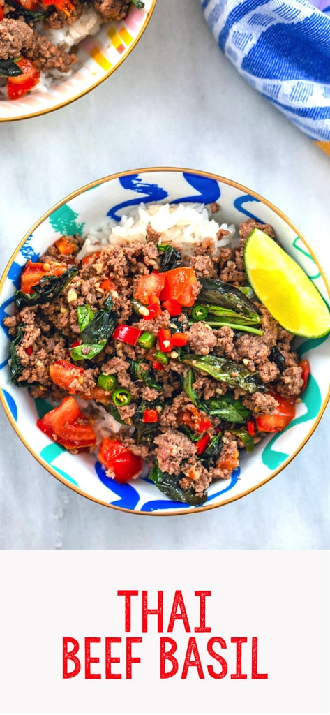 Thai Beef Basil with Coconut Rice -- This Thai Beef Basil is an incredibly flavorful, easy-to-make dinner that can be customized for all types of spicy food level preferences | wearenotmartha.com #dinner #beef #easy #spicy #rice
