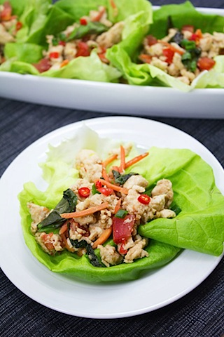 Spicy Basil Chicken Lettuce Wraps Recipes — Dishmaps