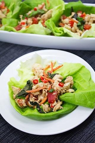 Thai Chicken Basil Lettuce Wraps