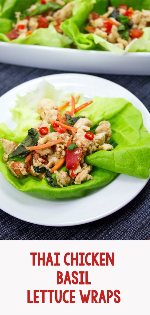 Thai Chicken Basil Lettuce Wraps -- If you love Thai food and are trying to eat healthier, skip the take-out and make these Thai Chicken Basil Lettuce Wraps at home! They're low carb and packed with flavor, with a spice level that can easily be adjusted according to your preference | wearenotmartha.com #lettucewraps #thai #healthy #chicken