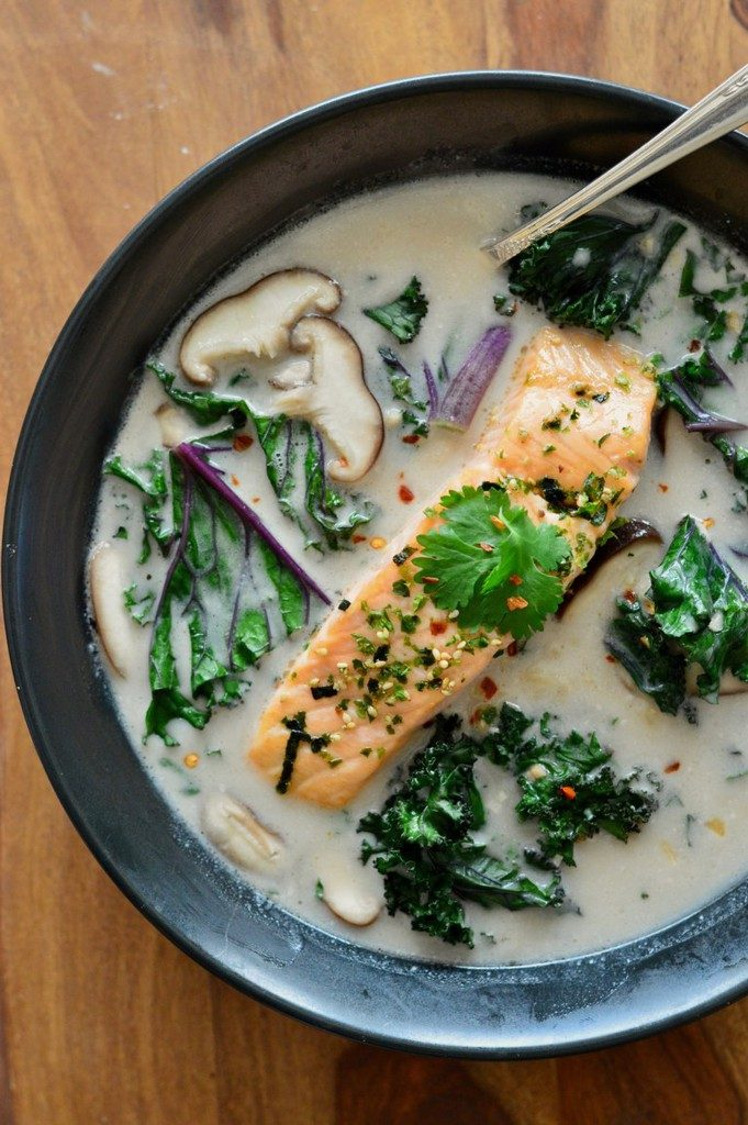 Thai-Coconut-Soup-with-Salmon
