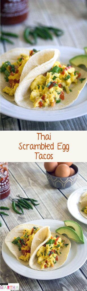 Thai Scrambled Egg Tacos -- Light, fluffy, and spicy for breakfast | wearenotmartha.com