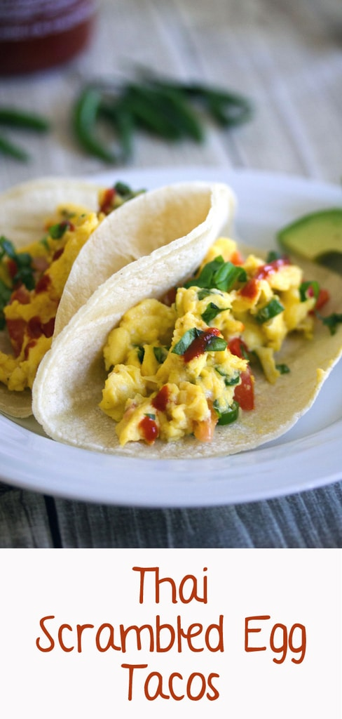 Thai Scrambled Egg Tacos -- These Thai Scrambled Egg Tacos take creamy scrambled eggs packed with spicy Thai flavors and serve them on tortillas for a breakfast you'll dream about | wearenotmartha.com #tacos #brunch #thai #eggs #scrambledeggs