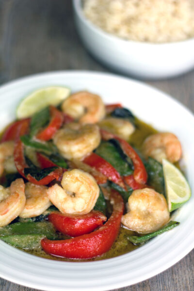 Thai-Style Curry with Shrimp, Bell Pepper, and Snap Peas