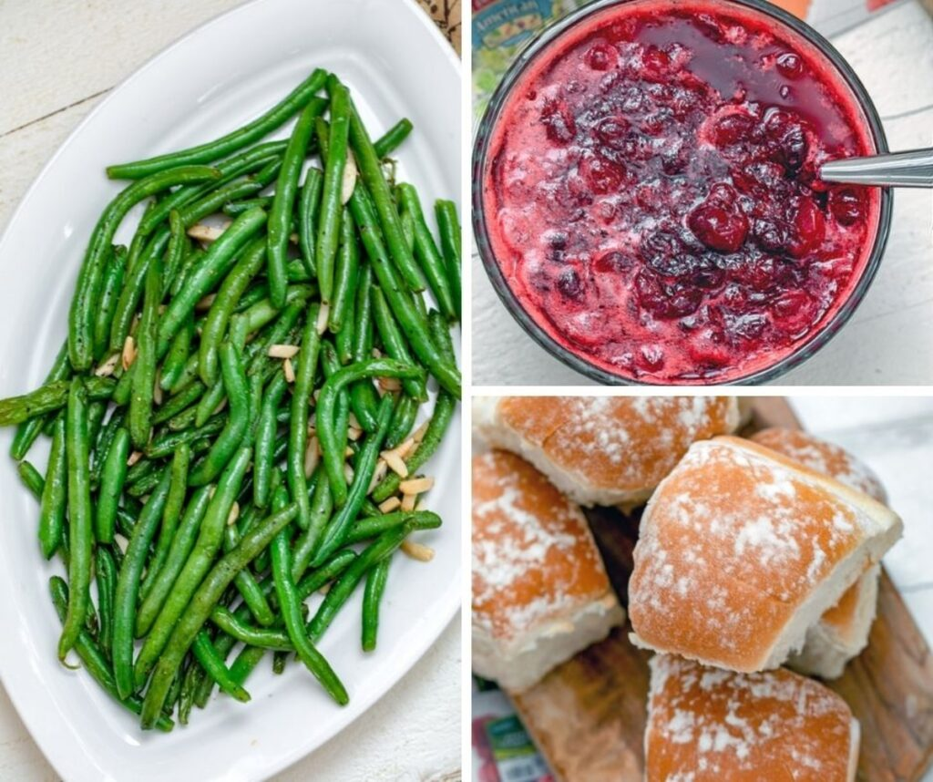 Collage showing green beans almondine, cranberry sauce, and dinner rolls