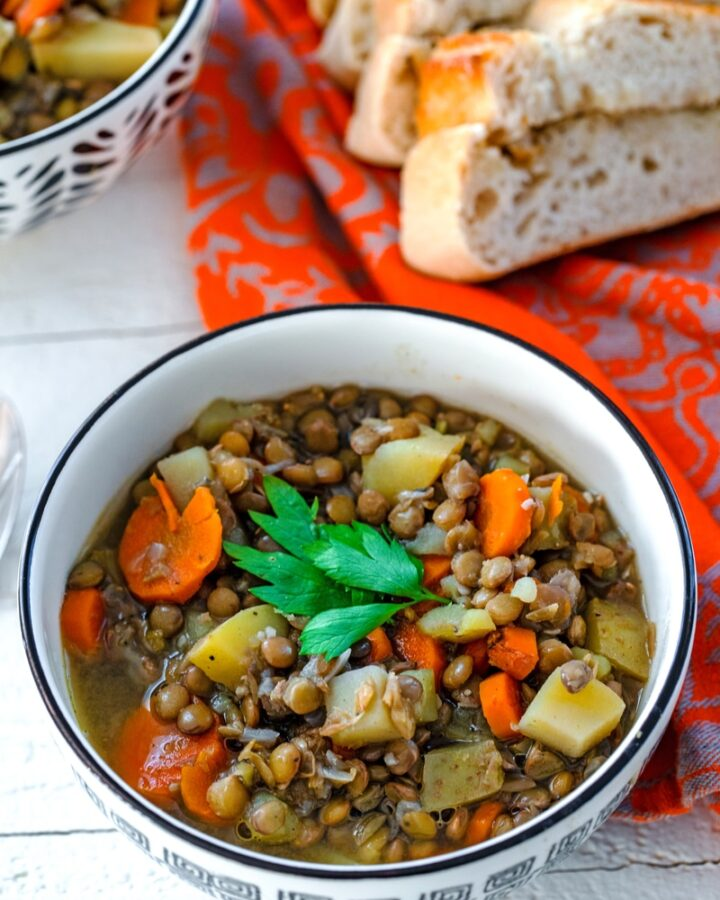 The Best Lentil Soup -- Not only is this soup incredibly simple to make, but it also happens to be the best lentil soup ever! Packed with hearty ingredients, it requires minimal work from you and is the perfect healthy comfort food | wearenotmartha.com #lentilsoup #healthysoups #lentilrecipes #healthyrecipes