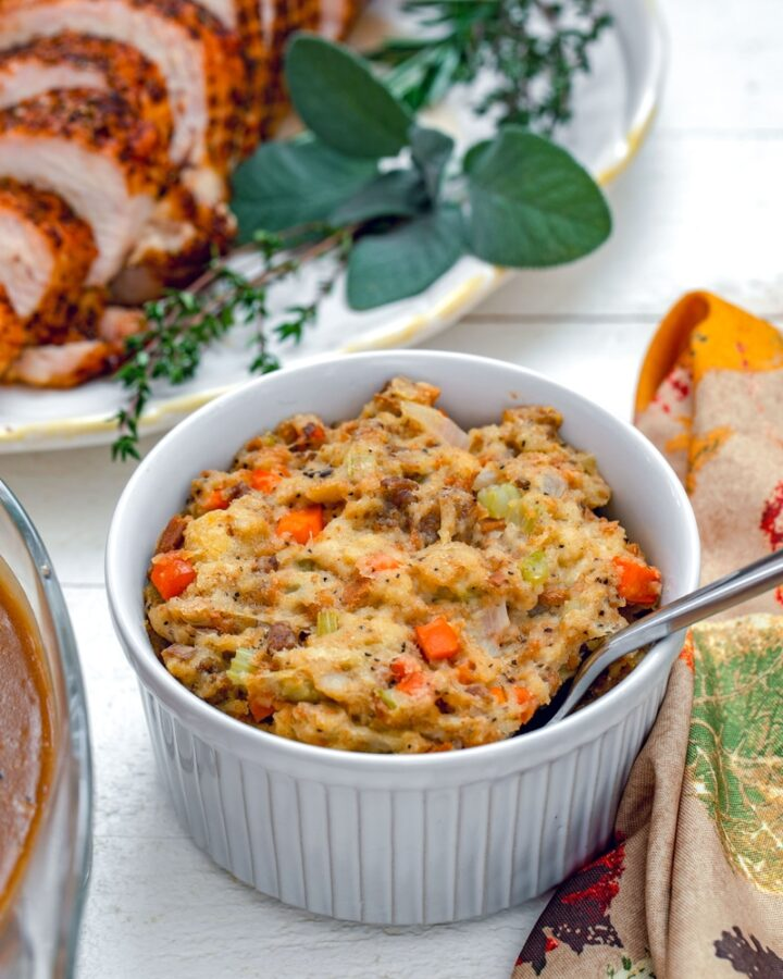 The Best Thanksgiving Stuffing -- There are many variations of stuffing (AKA dressing), but this easy homemade Thanksgiving stuffing is the very best and deserves a spot at your holiday table! | wearenotmartha.com #thanksgivingdinner #thanksgivingrecipes #stuffinrecipes #sidedishes