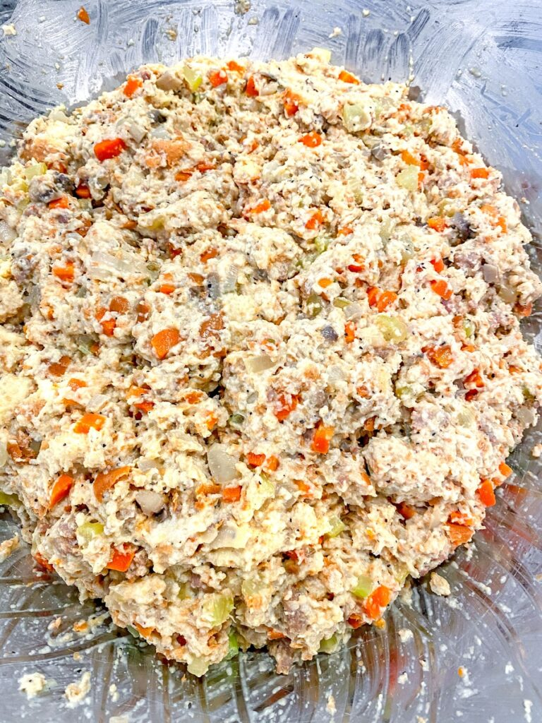 Stuffing mixture in large bowl