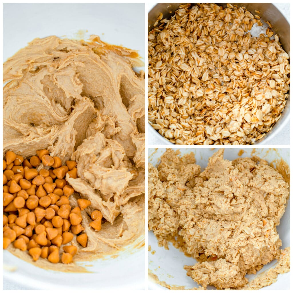 Collage showing process for making cookie batter, including oats toasting in saucepan, cookie batter in mixer, and cookie batter with peanut butter chips added in