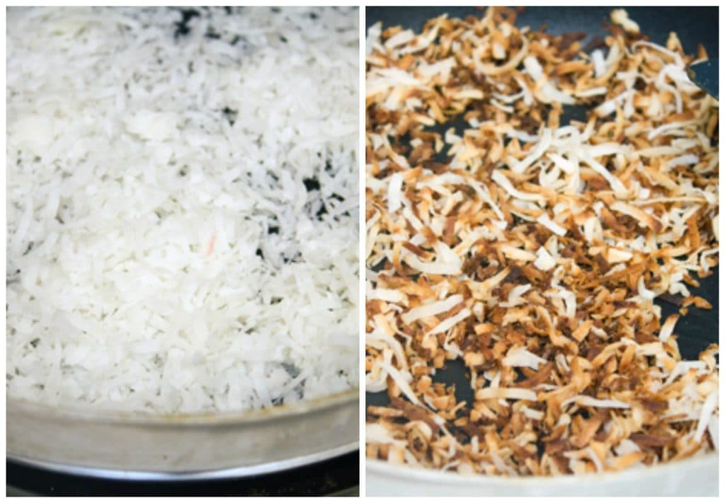 One photo shows shredded coconut in a skillet and another shows shredded coconut toasted golden in the skillet