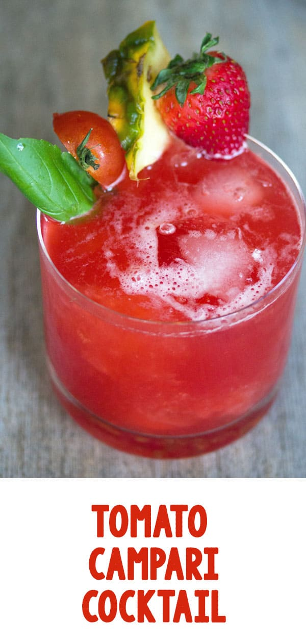 Tomato Campari Cocktail -- This Tomato Campari Cocktail is the most gorgeous shade of red and is refreshingly delicious. Who would have thought tomatoes, fruit, and Campari would go so well together? | wearenotmartha.com #cocktails #tomato #campari