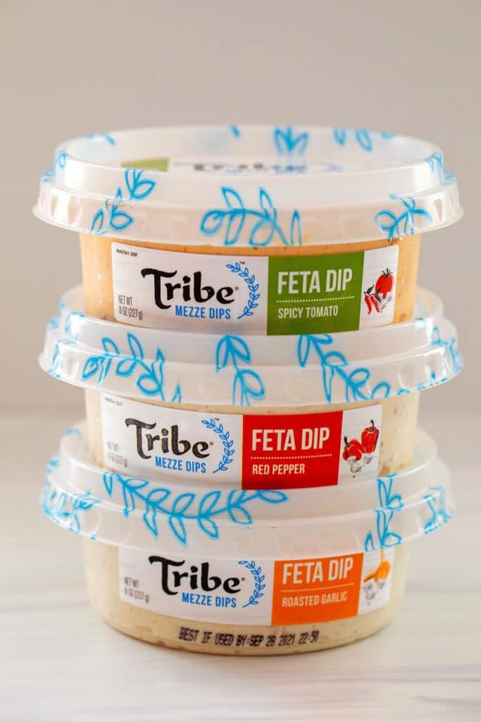 Stack of Tribe Mezze Dips