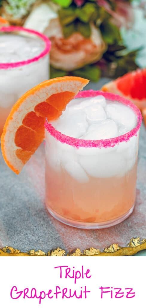 Triple Grapefruit Fizz -- Grapefruit, grapefruit, grapefruit! With this easy-to-make Triple Grapefruit Fizz drink, you'll combine grapefruit vodka, fresh grapefruit juice, and grapefruit seltzer for one delicious citrus cocktail | wearenotmartha.com #grapefruit #cocktails #vodka #grapefruitdrinks #seltzerwater